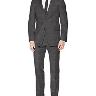 Tommy Hilfiger Men's Vassar Single Breast 2 Button Suit, Gray Window Pattern, 42 Regular