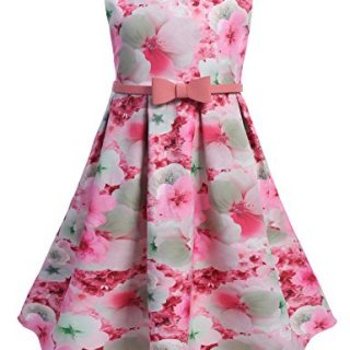 Arshiner Toddlers Little Girls Sleeveless Cute Dots Floral Print Tea Length A-Line Dress With Belt