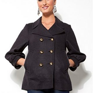 Coach Ladies Grey Wool Double Breasted Peacoat - Size 8
