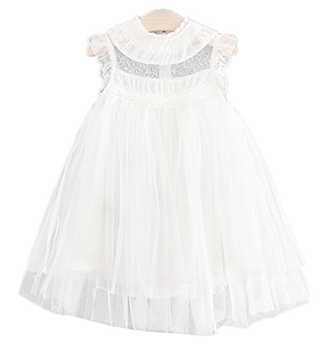 2Bunnies Girl Vintage Lace Flutter Sleeves Princess Party Dress (White, 2T)