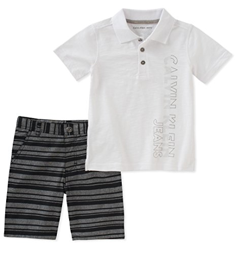 Calvin Klein Baby Boys 2 Pieces Polo Shorts Set, White, 12M