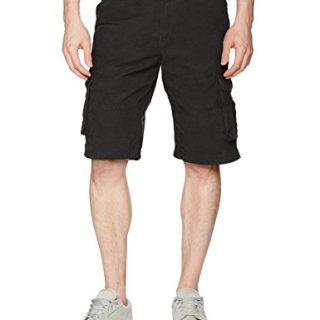 Southpole Men's All-Season Belted Ripstop Basic Cargo Short, Black/New, 42