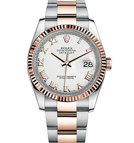 Rolex Datejust 36 Steel Rose Gold Watch White Dial Oyster