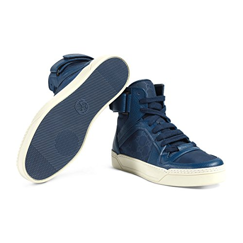 Gucci Men's Nylon Guccissima High-Top Sneaker, Blue(8.5 US/8 UK)