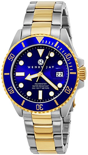 "Henry Jay Mens 23K Gold Plated Two Tone Stainless Steel ""Specialty Aquamaster"""