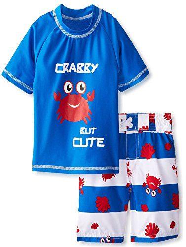 iXtreme Little Boys Toddler Crab Short Sleeve Rashguard 2Pc Swim Trunk Set, Royal, 4T
