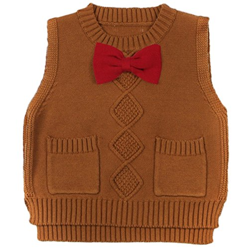 Toddler Baby Boy's Girls Cable Knit Vest Cotton Bow Pullover Sweater (5-6 Years, Brown)