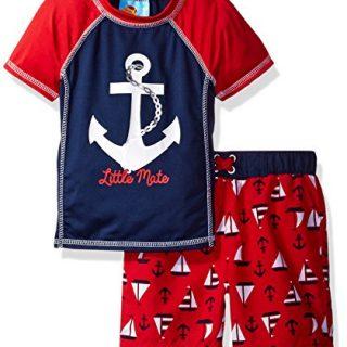 Baby Buns Baby Boys' Sail Away Swim Set Rashguard, Multi, 24M