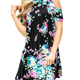 Asvivid Women's Summer Floral Print Cut Out Shoulder Casual Swing T-Shirt Dress Medium Black