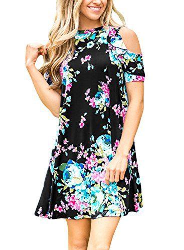 Asvivid Women's Summer Floral Print Cut Out Shoulder Casual Swing T-Shirt Dress Medium Black