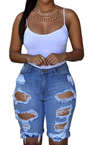 Chartou Women's Chic Ripped High-Waisted Stretchy Denim Bermuda Shorts Midi Short Jeans (#2Blue, Large)