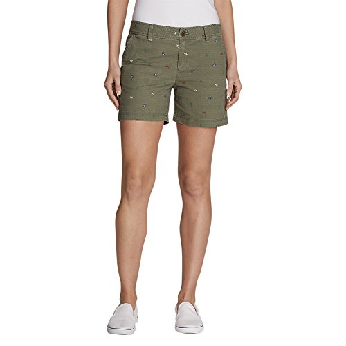 Eddie Bauer Women's Adventurer Stretch Ripstop Shorts - Print, Sprig Regular 8,8,Sprig (Green)