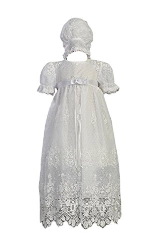 White Embroidered Tulle Lace Christening Baptism Gown - Size XS (0-3 M)