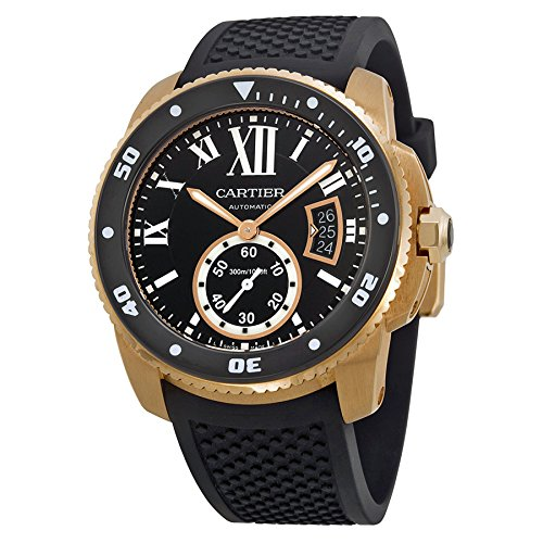 Cartier Calibre de Cartier Diver Automatic Black Dial Rubber Mens Watch