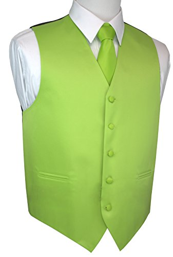 Brand Q Italian Design, Men's Tuxedo Vest, Tie & Hankie Set - Lime - 6XL