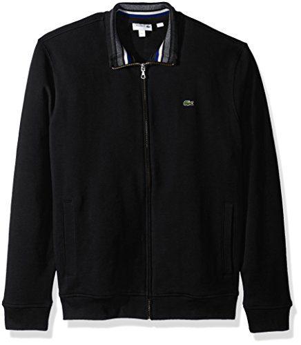 Lacoste Men's Semi Fancy Brushed Pique Fleece Full Zip Sweatshirt, Black/Multi, XX-Large