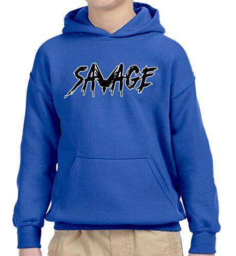 New Way 825A - Youth Hoodie Savage Maverick Logang Logan Paul Unisex Pullover Sweatshirt Large Royal Blue