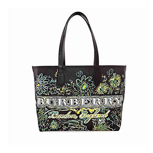 Burberry Reversible Flower Doodle Canvas Tote - Black