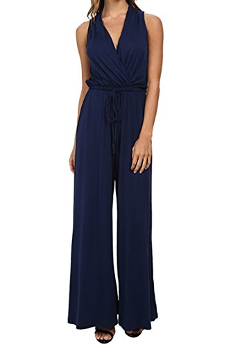 Fixmatti Women Sexy Deep V Off Shoulder Belted Bell Bottom Club Jumpsuit Blue L