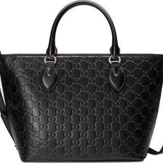 Gucci Guccisima Black Signature Calf Top handle Leather Bag Zip Purse Italy New