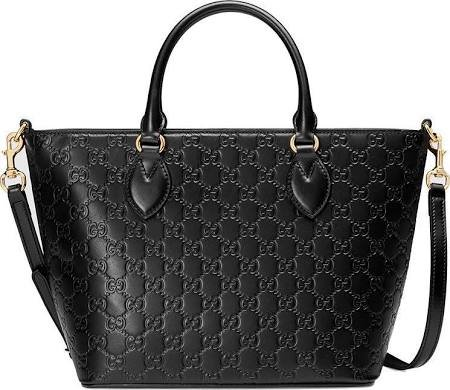 Gucci Guccisima Black Signature Calf Top handle Leather Bag Zip Purse Italy New
