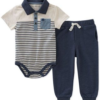 Calvin Klein Baby Boys 2 Pieces Creeper Pant Set, Oatmeal/Navy, 6-9 Months