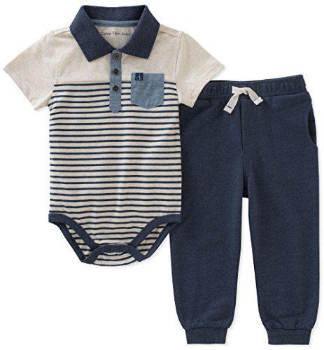 Calvin Klein Baby Boys 2 Pieces Creeper Pant Set, Oatmeal/Navy, 6-9 Months