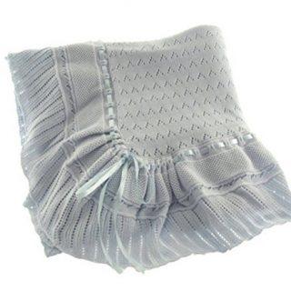Blue Knit Shawl Blanket Baby Boy Feltman Brothers (Blue)