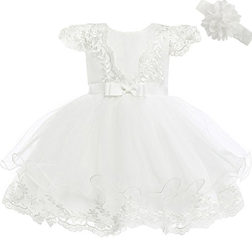Moon Kitty Baby Girls Embroidery Flower Dress Lace Christening Baptism Gown for Baby Girl, Ivory White, 3 Months