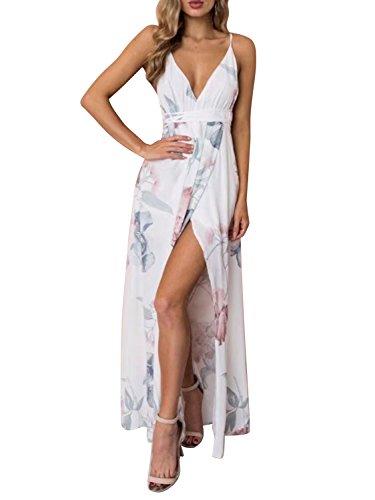 BerryGo Women's Sexy Backless Deep V Neck Split Party Maxi Dress White 1,M