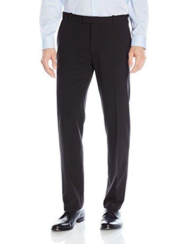 Van Heusen Men's Flex Straight Fit Flat Front Pant, Black, 32W x 30L