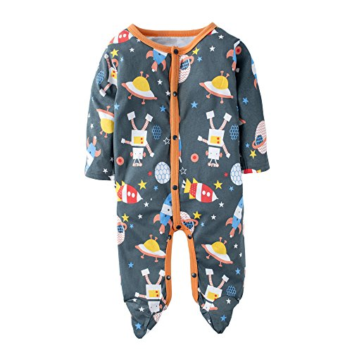 BIG ELEPHANT Baby Boys' 1 Piece Robot Print Long Sleeve Playsuit Rompers K05