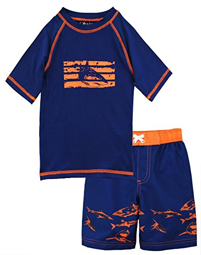 iXtreme Little Boys Swimwear Shark Rash guard Swim Board Short Trunk, Navy, 4T