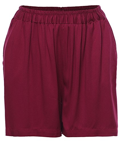 Chartou Women's Soft Pull on Stretchy Waist Loose Fit Cotton Sweat Beach Shorts (Wine, Large)