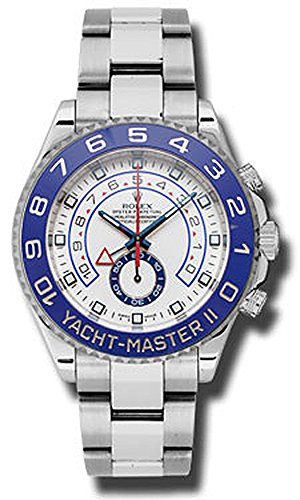 Rolex Yacht Master II White Dial Blue Bezel Stainless Steel Automatic Mens Watch