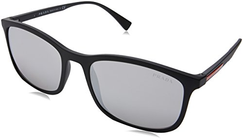 Prada Linea Rossa Men's Black Rubber/Light Grey Mirror Silver One Size