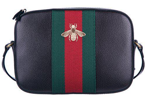 Gucci women's leather shoulder bag original web bee brown
