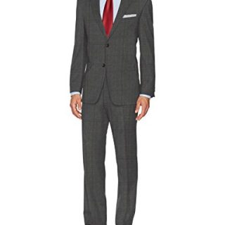 Tommy Hilfiger Men's Wool Stretch Fancy Performance Suit, Charcoal Grey, 40R