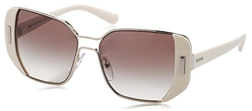 Prada Women's Sunglasses Silver/Ivory/Grey Gradient 54mm