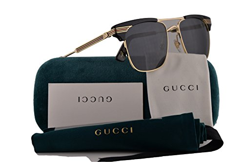Gucci Sunglasses Black Gold w/Grey Lens 52mm
