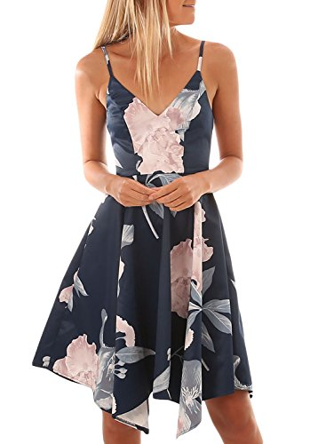 Asvivid Womens Sexy V Neck Open Back Asymmetric Boho Flower Print Strap Swing Midi Dress Large Blue
