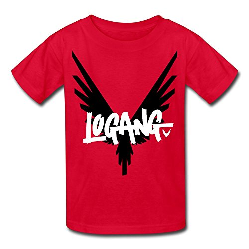 Christina W. Halle Youth Kids Spring Fashion T-Shirt Short Sleeve Logan Paul Logo Customization Red M