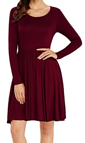 Aixy Women Long Sleeve Round Neck Casual Pleated Flared Skater Tunic T -Shirt Dress