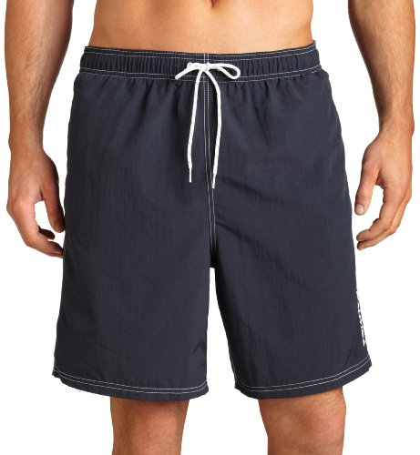 Nautica Men's Solid Nylon Swim Trunk,Navy,Medium