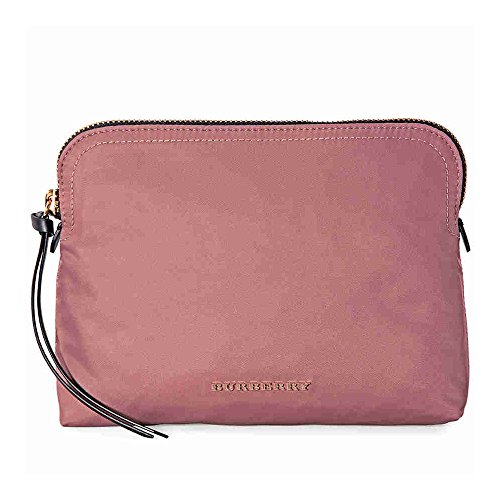 Burberry Zip-Top Check Technical Pouch - Mauve Pink