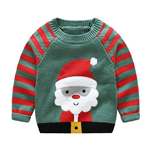 Jojobaby Little Boy's Baby Boy's Sweater Xmas Cartoon Santa Knit Pullover Sweatshirt For Christmas Gift (5-6 Years, Green-Santa)