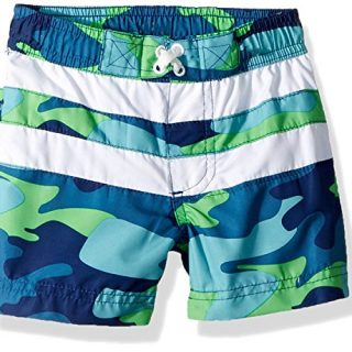 iXtreme Toddler Boys' Camo with Stripe Swim Trunk, Navy, 2T