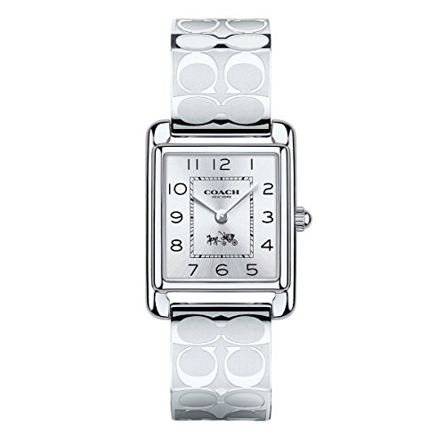 Coach Womens Page Signature Silver Stainless Bangle Watch
