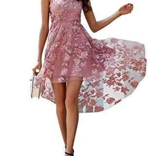 BerryGo Women's Elegant Mesh Embroidered Floral Strap High Waist Midi Dress Pink, M