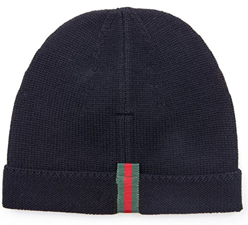 Wiberlux Gucci Unisex Striped Tab Panel Knit Beanie M Navy